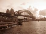sunrise on the bridge BW