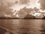 sunrise on the harbor BW